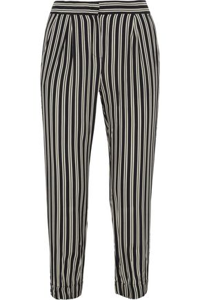 IRIS & INK Dani cropped striped crepe de chine tapered pants
