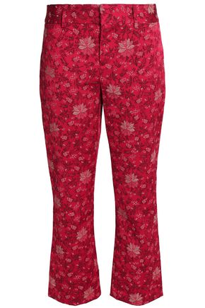 ALICE+OLIVIA Cropped floral-jacquard bootcut pants