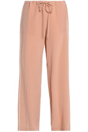 THEORY Printed silk crepe de chine wide-leg pants