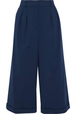 RAOUL Pleated cotton-blend ponte wide-leg culottes