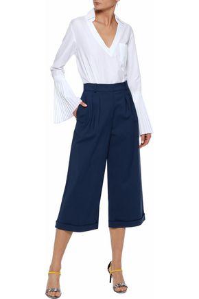 RAOUL Pleated cotton-blend ponte wide-leg culottes