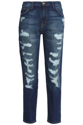 CURRENT/ELLIOTT Distressed straight-leg jeans