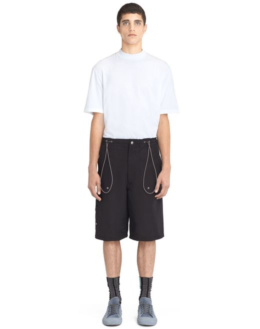 lanvin black shorts with elastic waistband  men