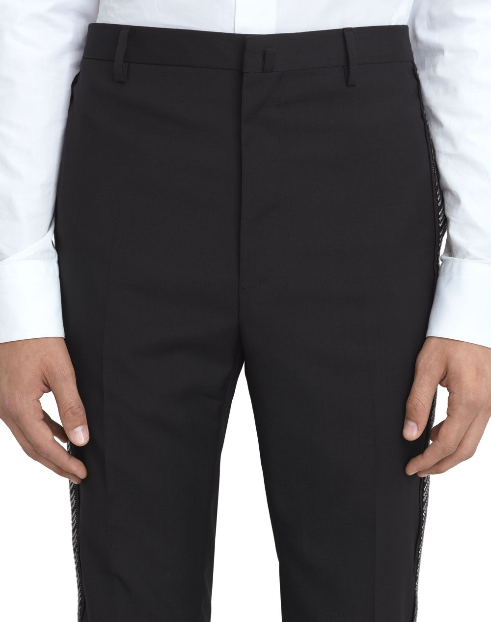 BLACK TROUSERS WITH JACQUARD BANDS  - Lanvin