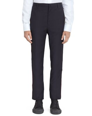 LANVIN NAVY BLUE TROUSERS WITH JACQUARD BANDS Pants U f