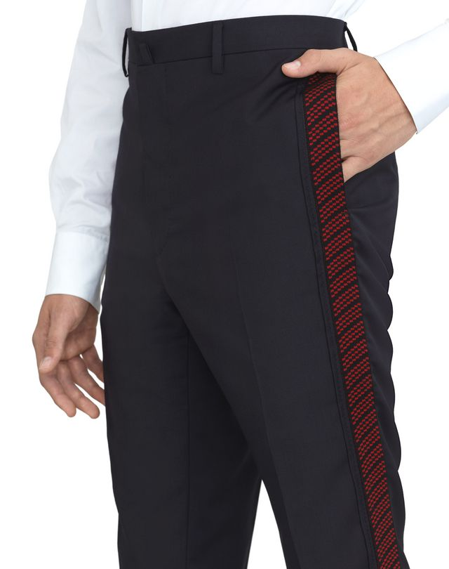 LANVIN NAVY BLUE TROUSERS WITH JACQUARD BANDS Pants U a