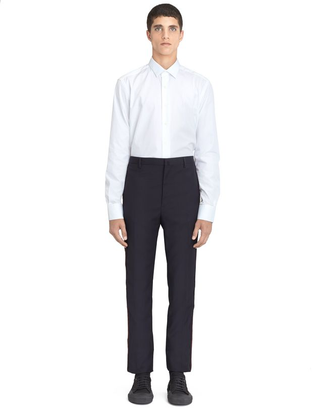 LANVIN NAVY BLUE TROUSERS WITH JACQUARD BANDS Pants U r