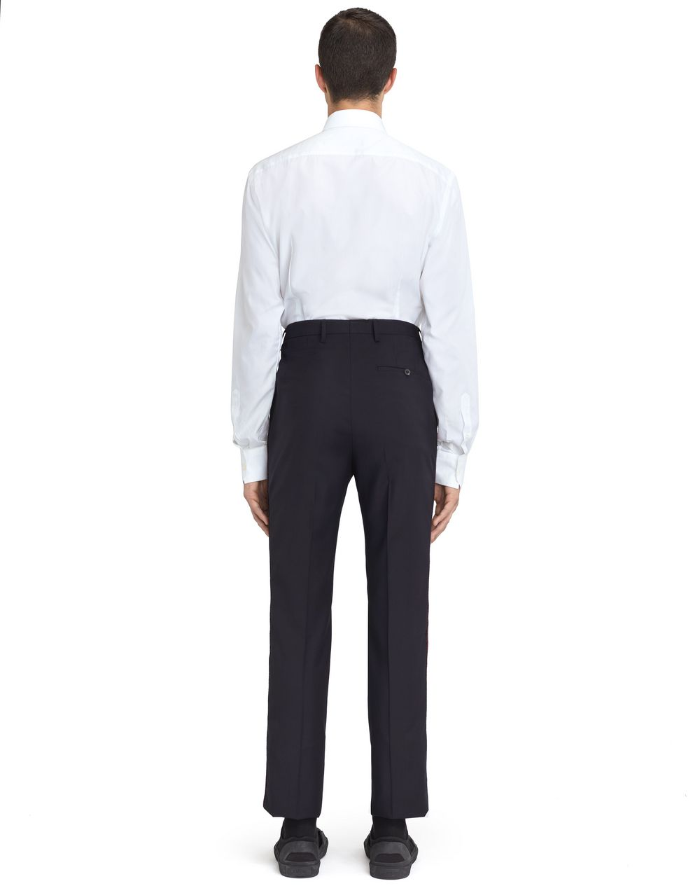 NAVY BLUE TROUSERS WITH JACQUARD BANDS  - Lanvin