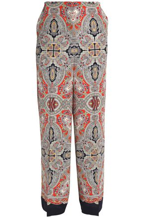 THEORY Printed crepe wide-leg pants