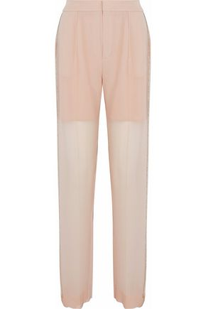 CHLOÉ Embellished chiffon-paneled silk-crepe straight-leg pants