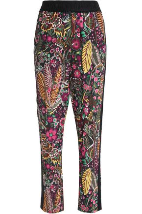 3.1 PHILLIP LIM Satin-trimmed floral-print tapered pants