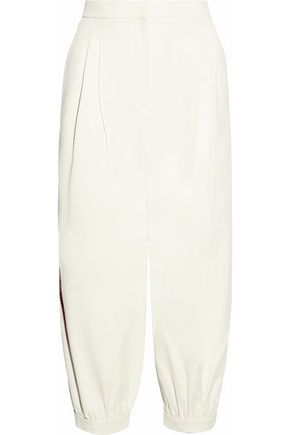 FENDI Cropped pleated cotton-twill tapered pants