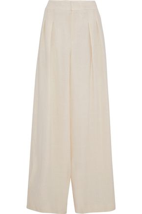 CHLOÉ Pleated textured-crepe wide-leg pants