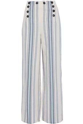 LEMLEM Striped cotton and linen-blend wide-leg pants