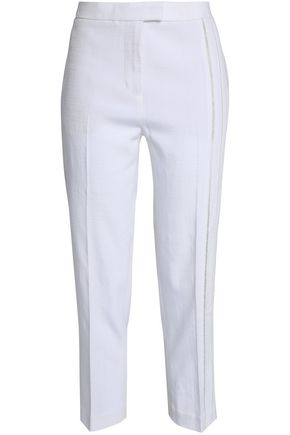 3.1 PHILLIP LIM Open knit-trimmed canvas tapered pants