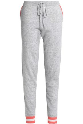 WOMAN INTARSIA WOOL AND CASHMERE-BLEND TRACK PANTS GRAY