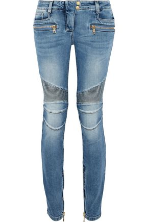 BALMAIN Rib-paneled low-rise skinny jeans