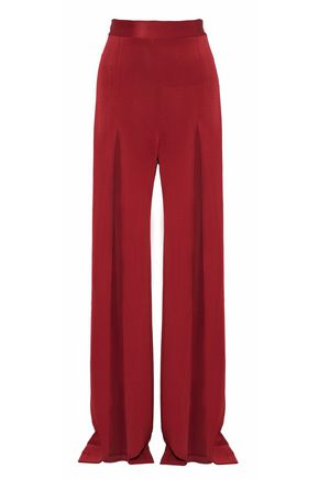 BALMAIN Split-front satin-faille wide-leg pants