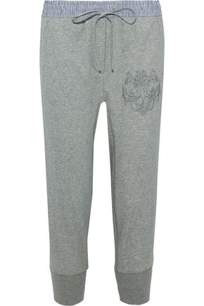3.1 PHILLIP LIM Stripe-trimmed embroidered cotton-terry track pants
