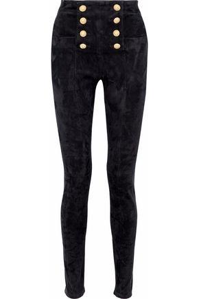 BALMAIN Button-embellished suede skinny pants