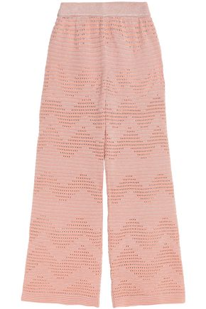 M MISSONI Metallic ribbed and pointelle-knit wide-leg pants