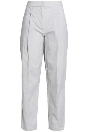 DKNY PURE Pleated stretch-cotton poplin tapered pants