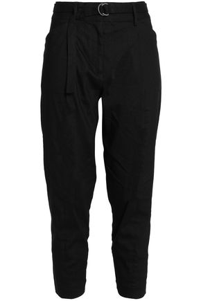 DKNY PURE Pleated linen-blend tapered pants