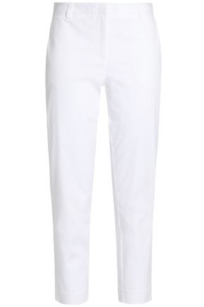 DKNY PURE Cropped stretch-cotton ponte tapered pants