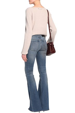 VICTORIA, VICTORIA BECKHAM Faded mid-rise flared jeans