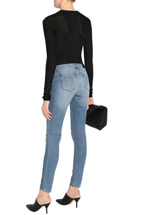 VICTORIA, VICTORIA BECKHAM Faded mid-rise skinny jeans