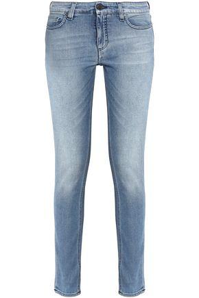 VICTORIA, VICTORIA BECKHAM Faded mid-rise slim-leg jeans