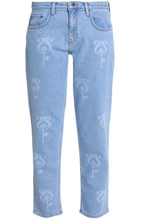 VICTORIA, VICTORIA BECKHAM Printed mid-rise straight-leg jeans