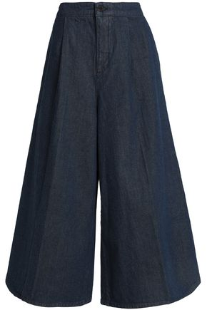 VICTORIA, VICTORIA BECKHAM Pleated denim culottes