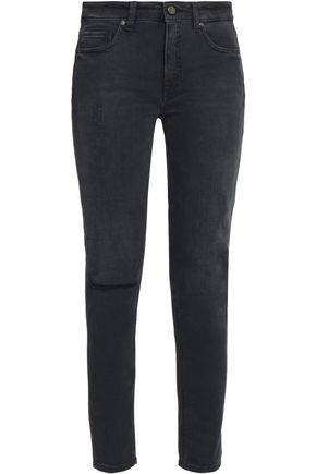 VICTORIA, VICTORIA BECKHAM Distressed mid-rise slim-leg jeans