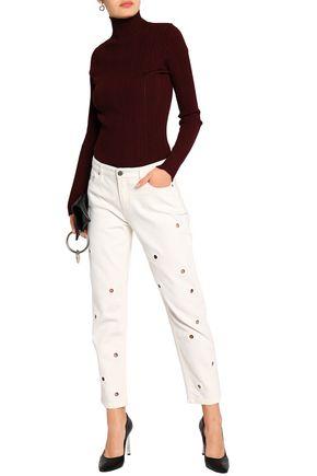 VICTORIA, VICTORIA BECKHAM Eyelet-embellished high-rise slim-leg jeans