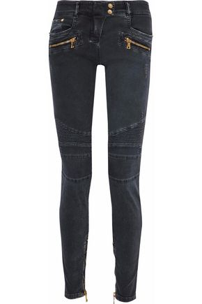 WOMAN MOTO-STYLE DISTRESSED LOW-RISE SKINNY JEANS CHARCOAL