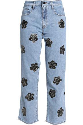 VICTORIA, VICTORIA BECKHAM Cropped appliquéd bootcut jeans