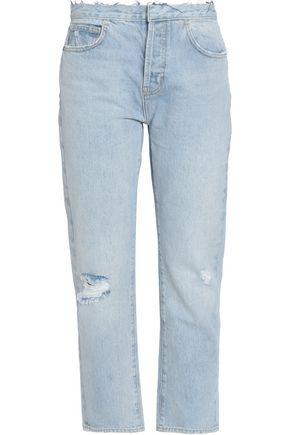 CURRENT/ELLIOTT Distressed boyfriend jeans