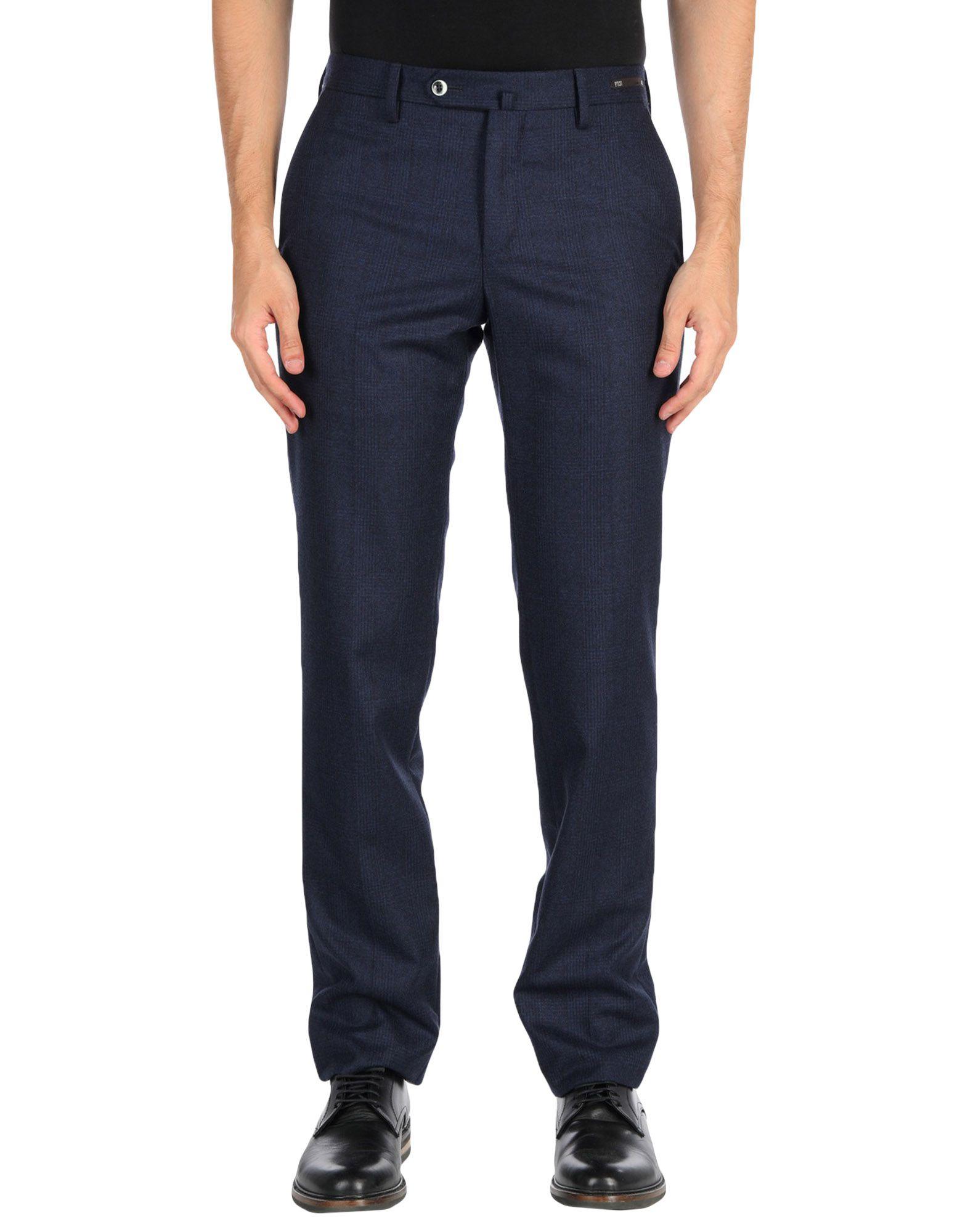 《送料無料》PT01 メンズ パンツ ダークブルー 46 100% スーパー110 ウール