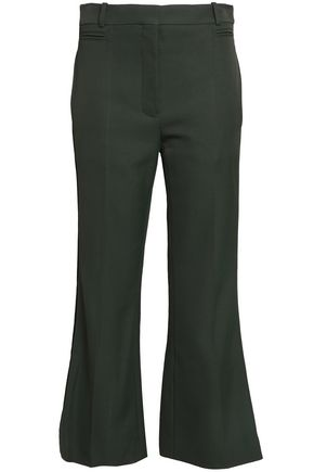 NINA RICCI Satin-trimmed wool-blend bootcut pants