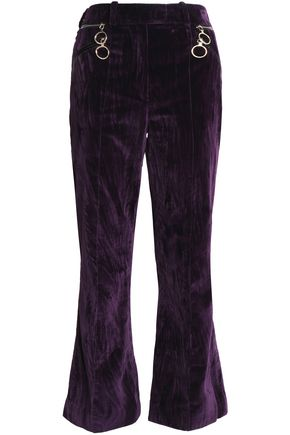 NINA RICCI Zip-detailed velvet bootcut pants