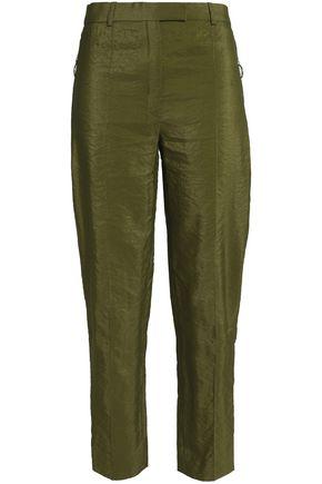 NINA RICCI Crinkled taffeta straight-leg pants