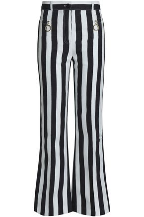 NINA RICCI Striped cotton and silk-blend flared pants