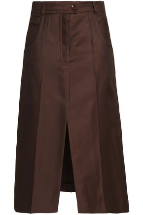 NINA RICCI Wool and silk-blend midi skirt
