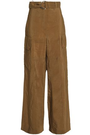 NINA RICCI Belted crinkled taffeta wide-leg pants