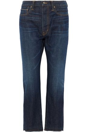 VINCE. Cropped frayed high-rise straight-leg jeans