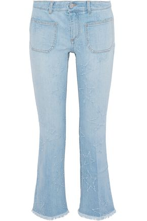 STELLA McCARTNEY Cropped distressed mid-rise bootcut jeans