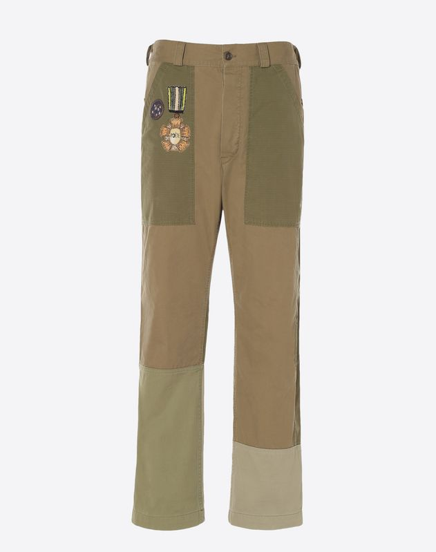 Cargo pants with military embellishments