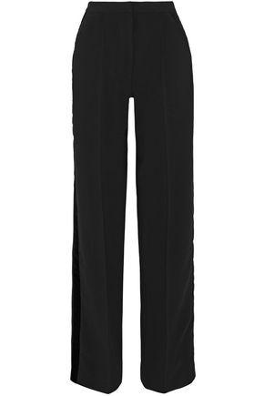 PERSEVERANCE Velvet-trimmed crepe wide-leg pants