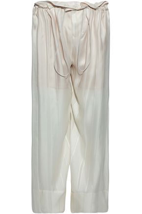 STELLA McCARTNEY Gathered silk-satin wide-leg pants